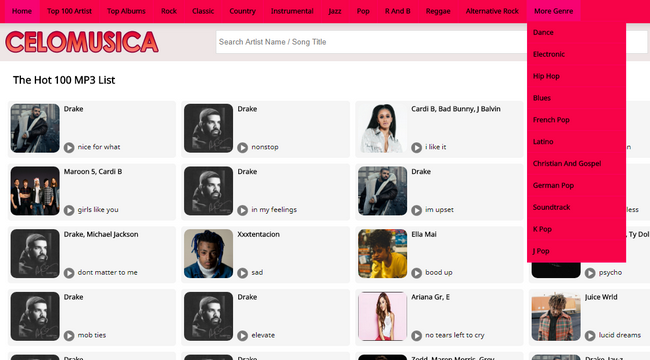 Celomusic MP3 Song categories