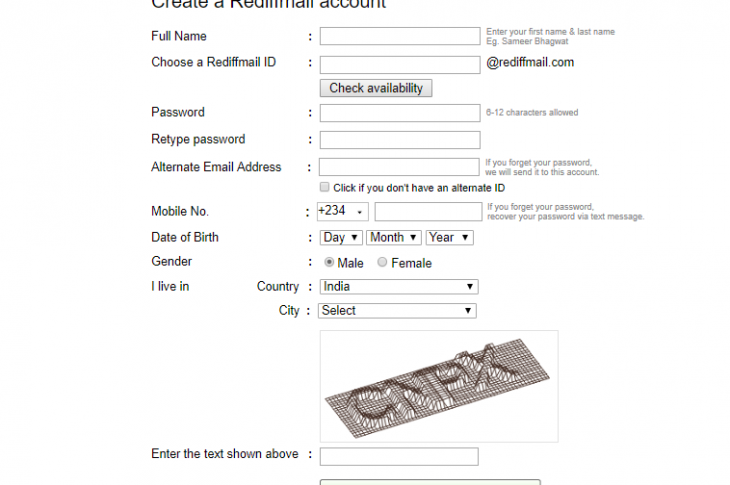 Rediffmail registration page