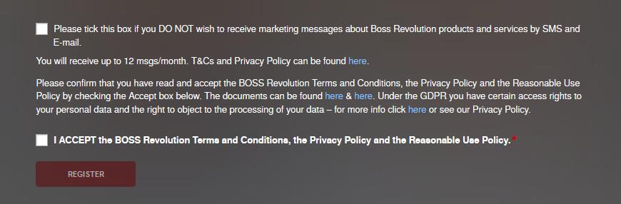 BOSS Revolution New Account Registration 3