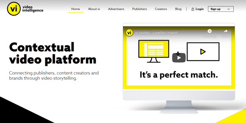 vi Contextual Video Platform Sign up for Publishers – Make money with Video Ad